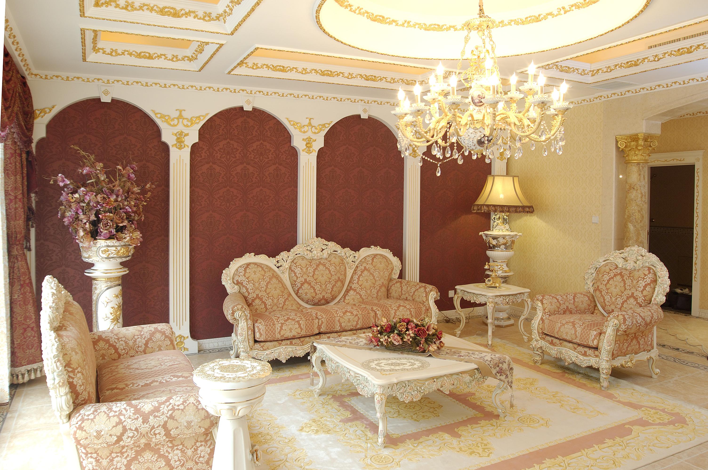 欧式奢华风格别墅装修客厅效果图