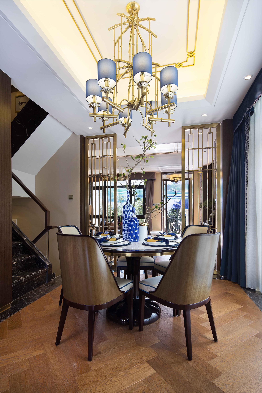 新中式别墅装修餐厅效果图