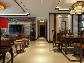 大户型中式装修客餐厅过道