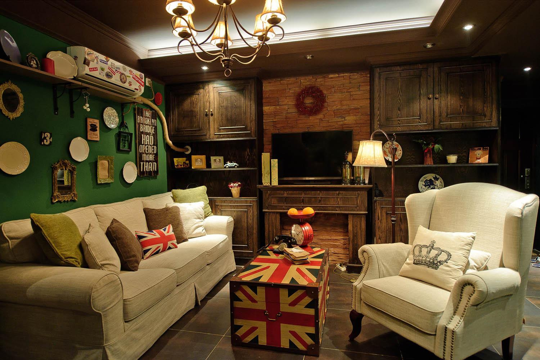 英式复古两居装修电视背景墙图片