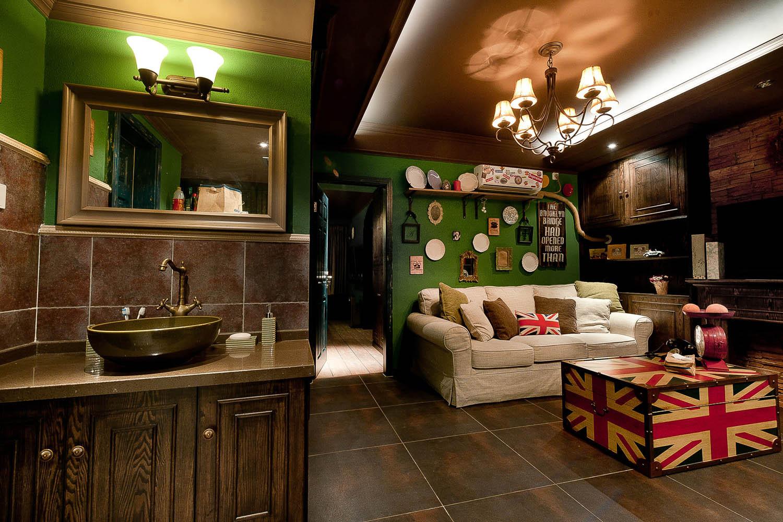 英式复古两居装修洗手台图片