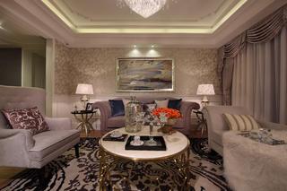 110平现代奢华二居装修客厅效果图