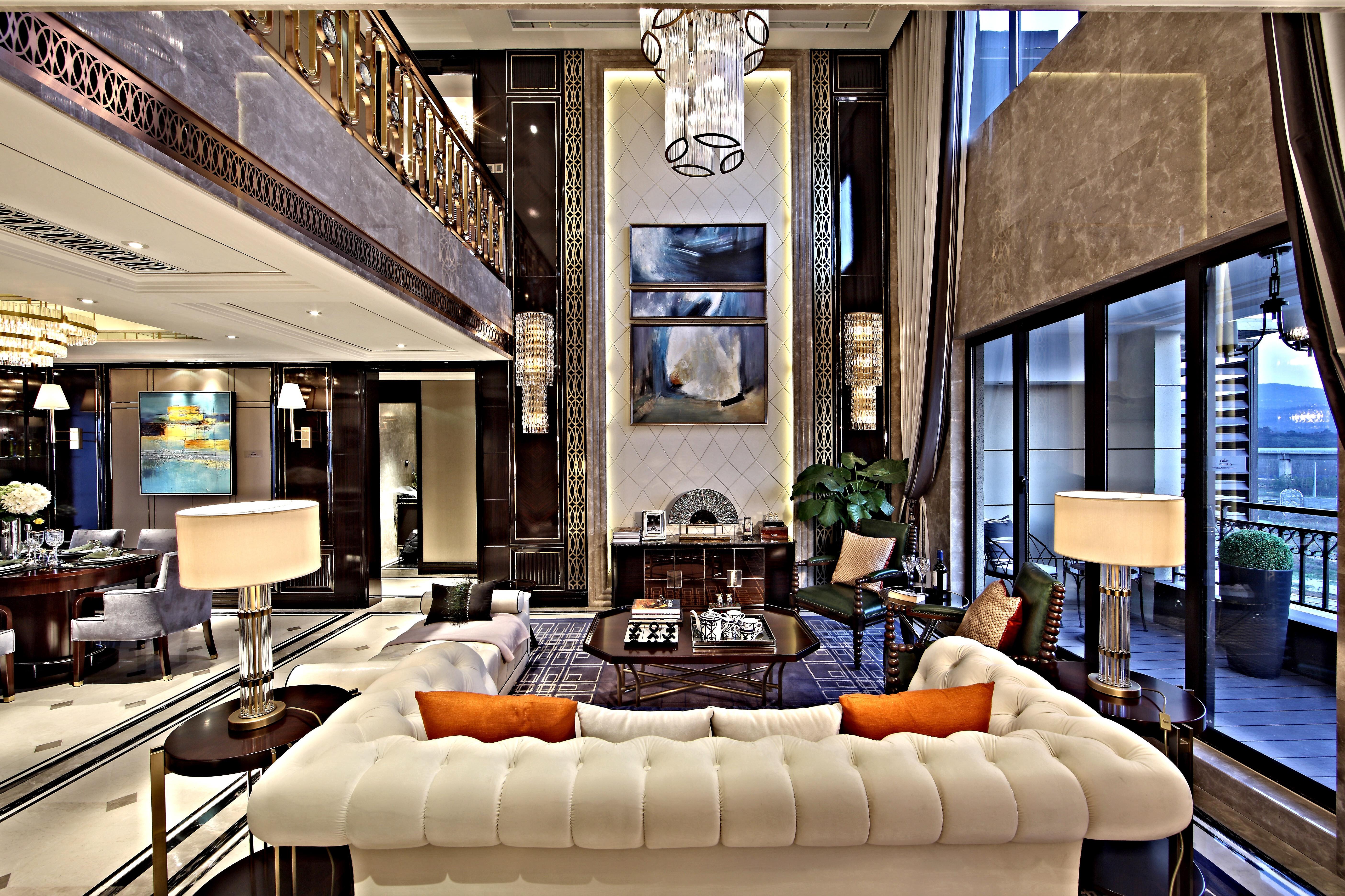 欧式时尚别墅装修客厅效果图