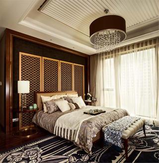 现代中式三居装修床头背景墙设计