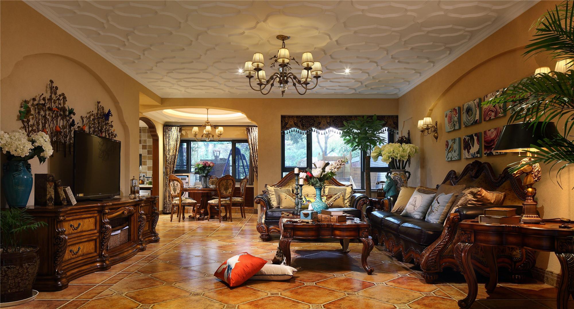 大户型美式别墅装修客厅设计图