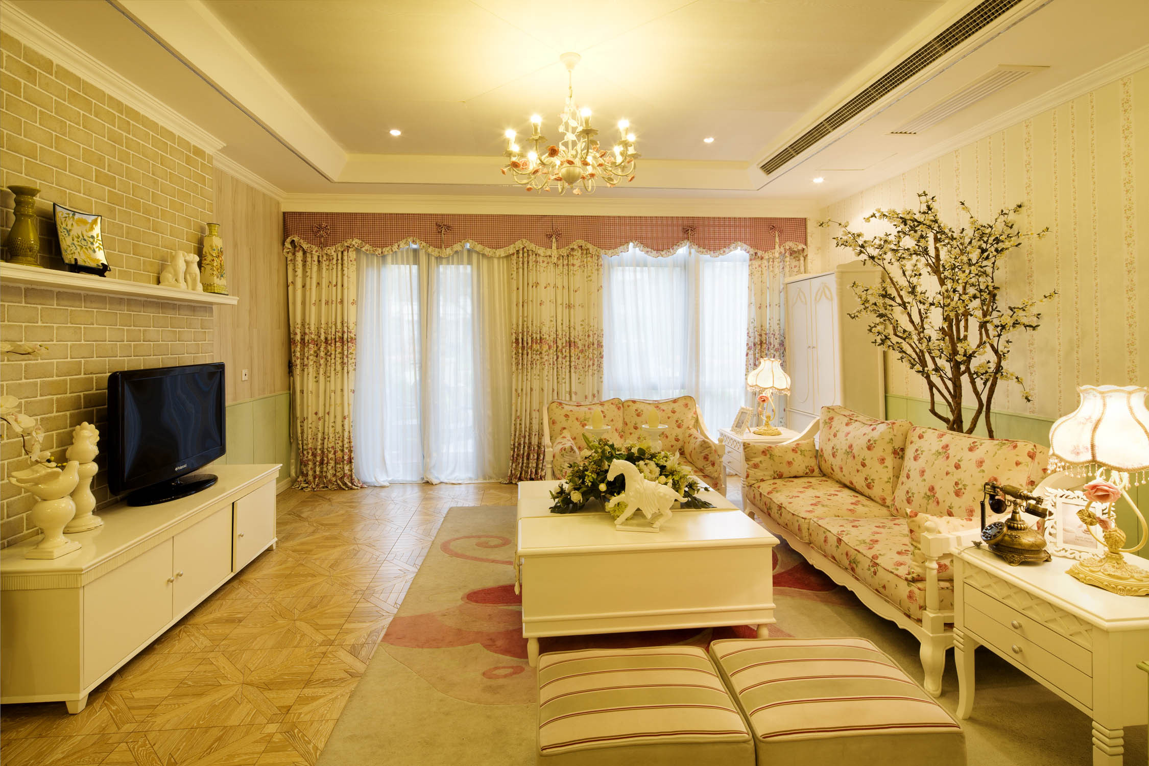 韩式田园风格家客厅设计图