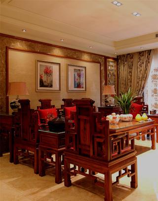 大户型中式古典装修客厅设计图