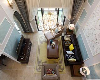 简美复式装修客厅俯视图