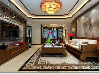 大户型中式装修客厅效果图