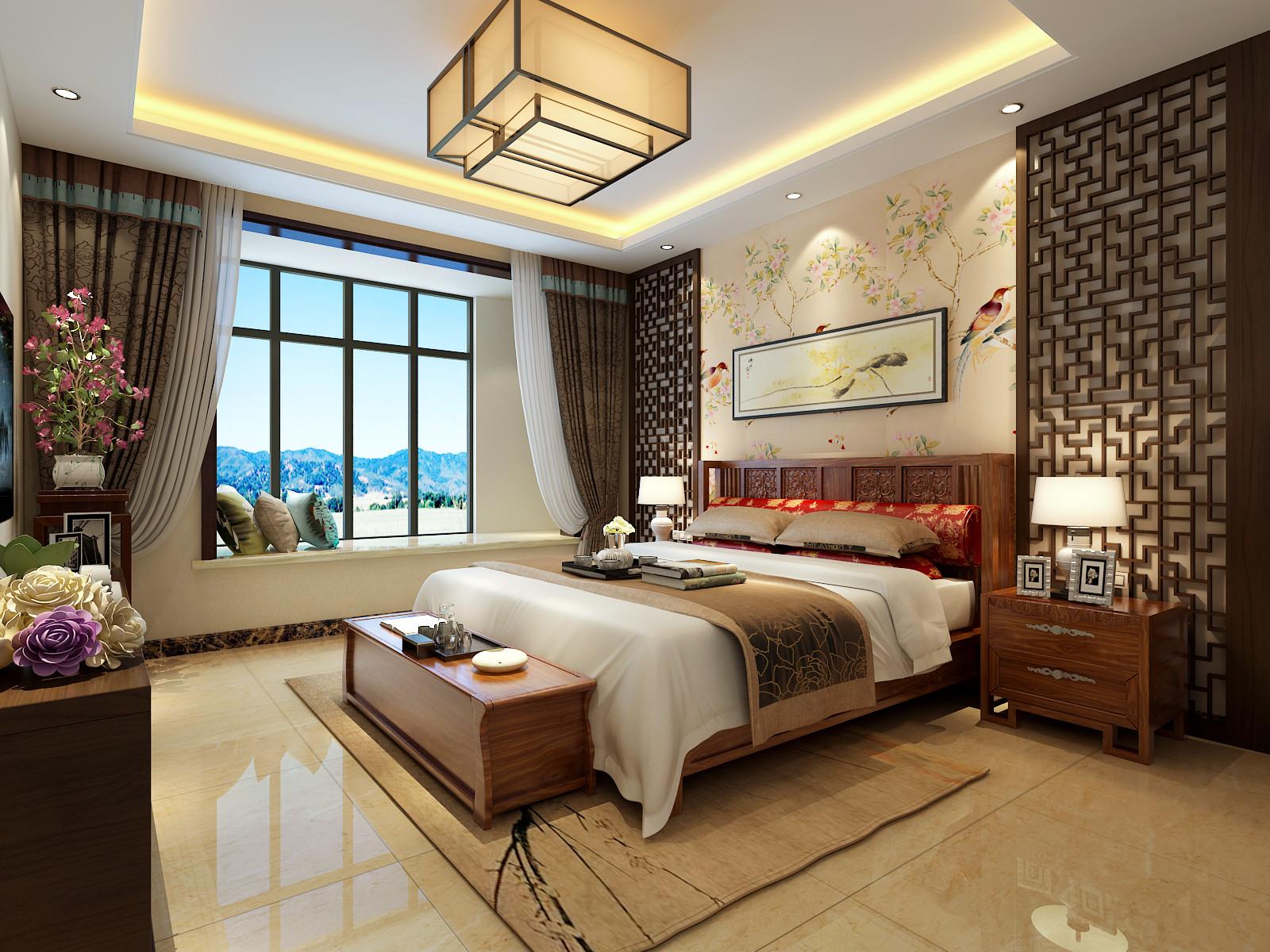 大户型中式装修卧室效果图
