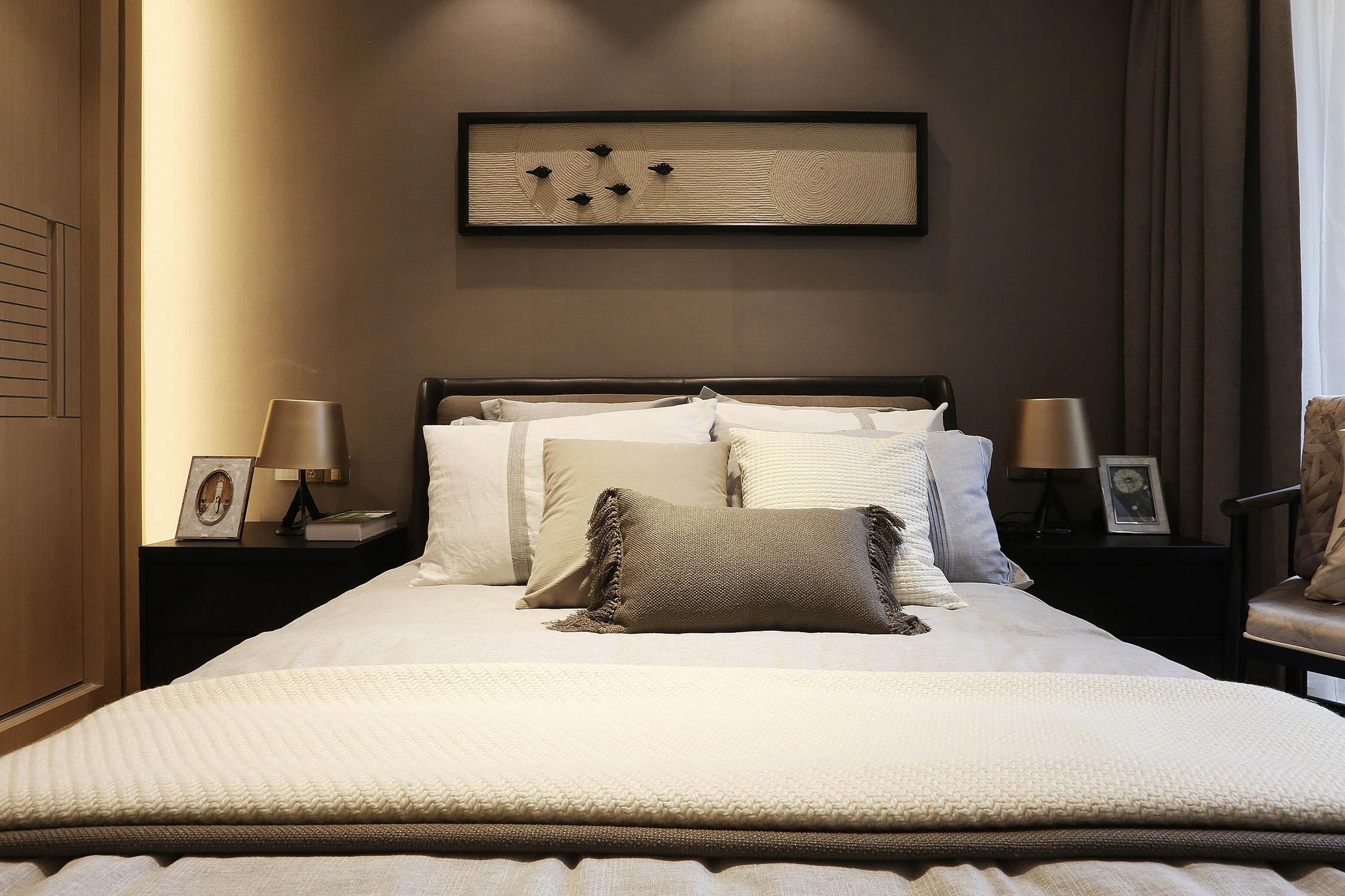 80平简约风设计卧室背景墙图片