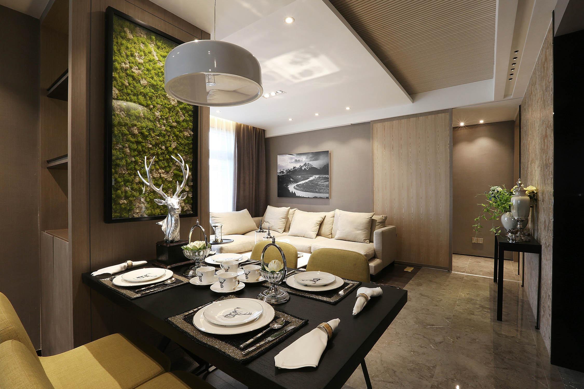 90平现代简约风设计餐厅布置图