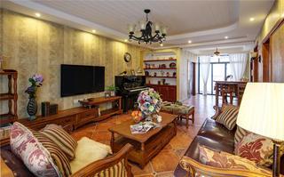 160平美式公寓装修客厅设计图