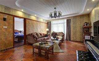 160平美式公寓装修沙发背景墙图片