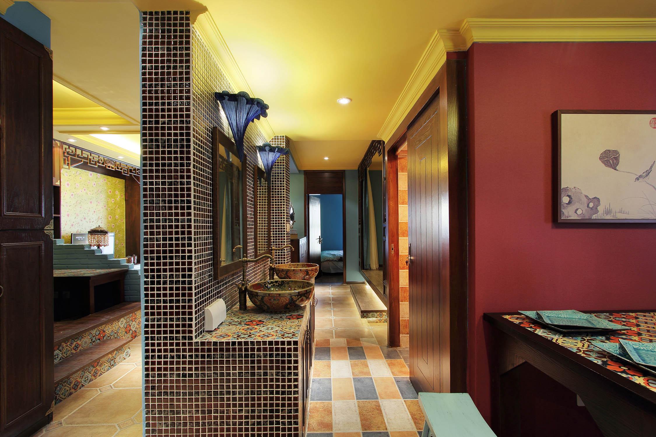 中式混搭风格家洗手台设计