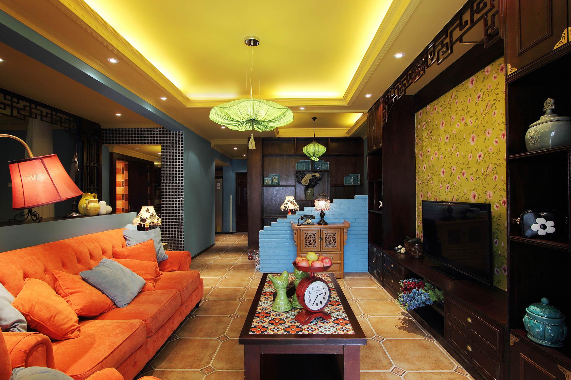 中式混搭风格家客厅吊顶