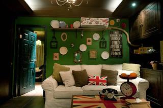 英式复古两居装修沙发背景墙图片