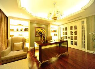 美式新古典主义别墅装修书房设计图