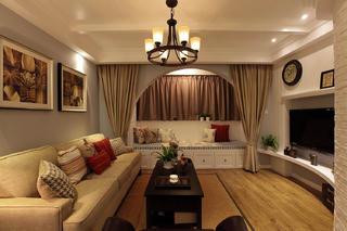 125平复式美式三居装修客厅设计图
