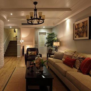125平复式美式三居装修设计图
