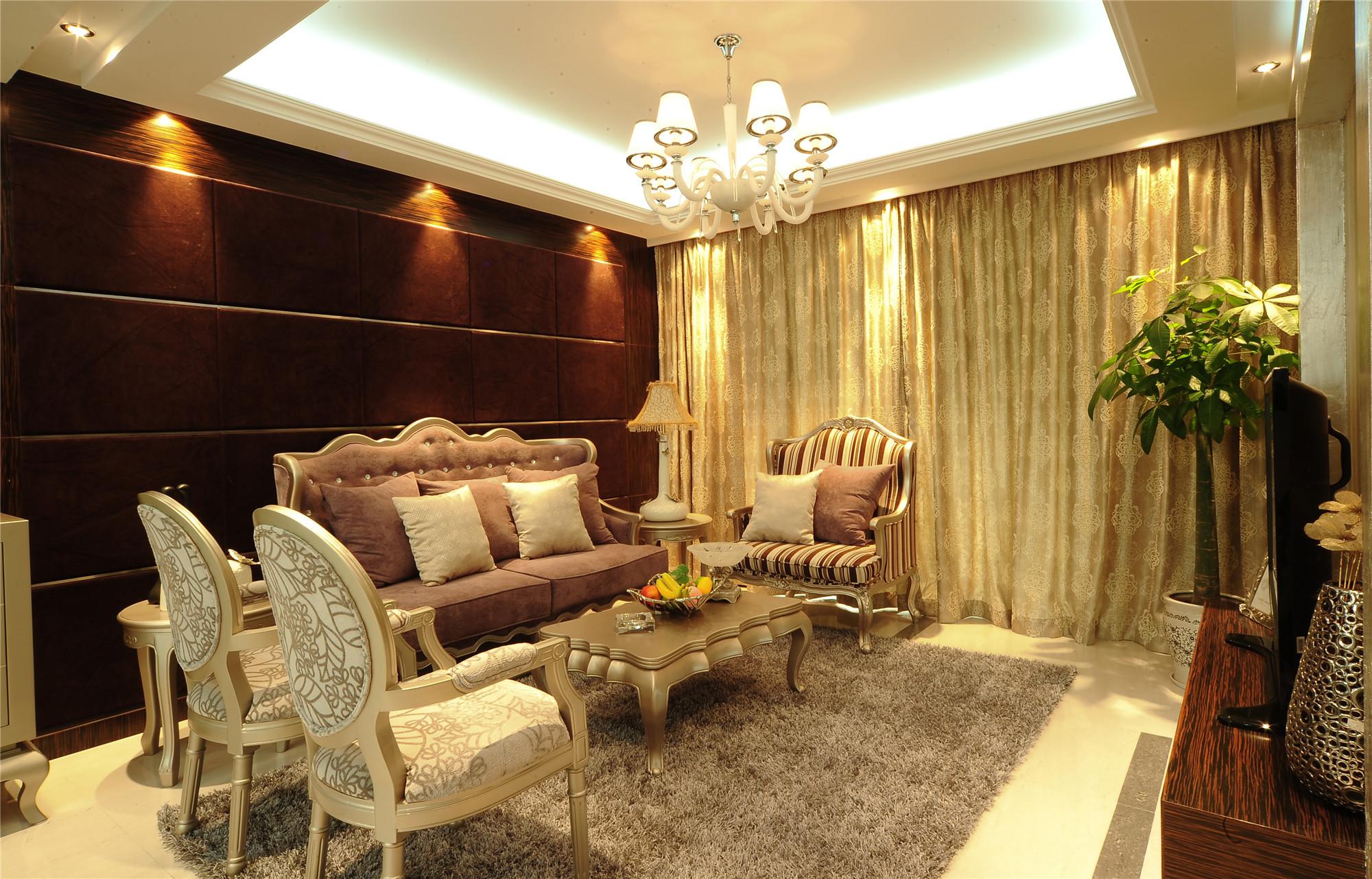 140平新古典风格装修客厅效果图