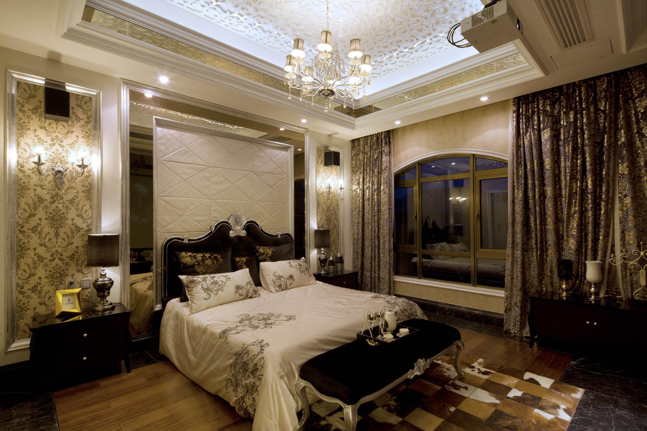 简欧别墅样板房装修卧室背景墙图片