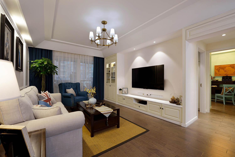 125平美式风格家客厅效果图