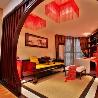 小户型一居装修设计 中式红韵