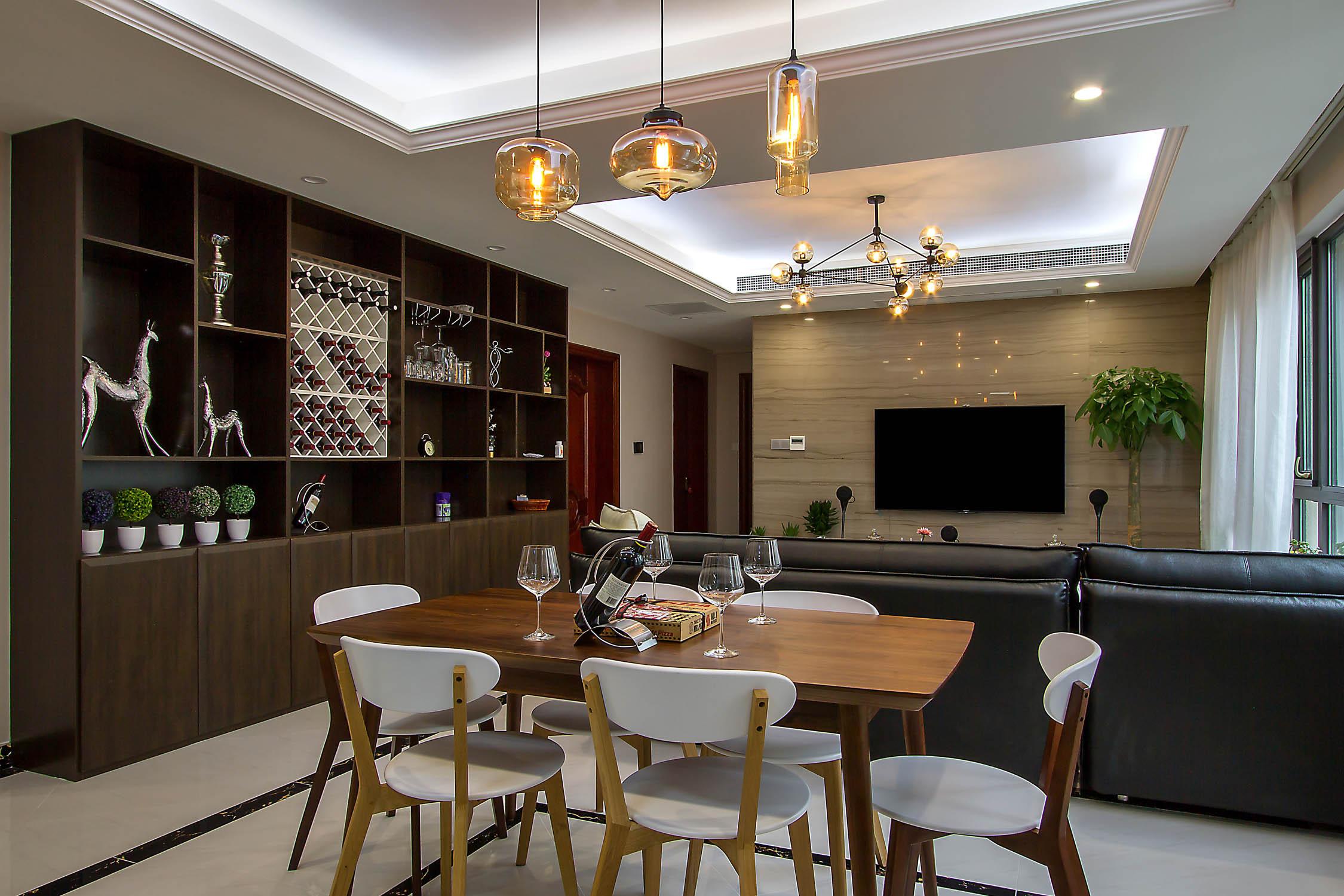 140平现代休闲风装修餐厅设计图