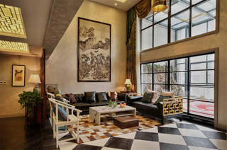 摩登新中式别墅装修客厅设计图