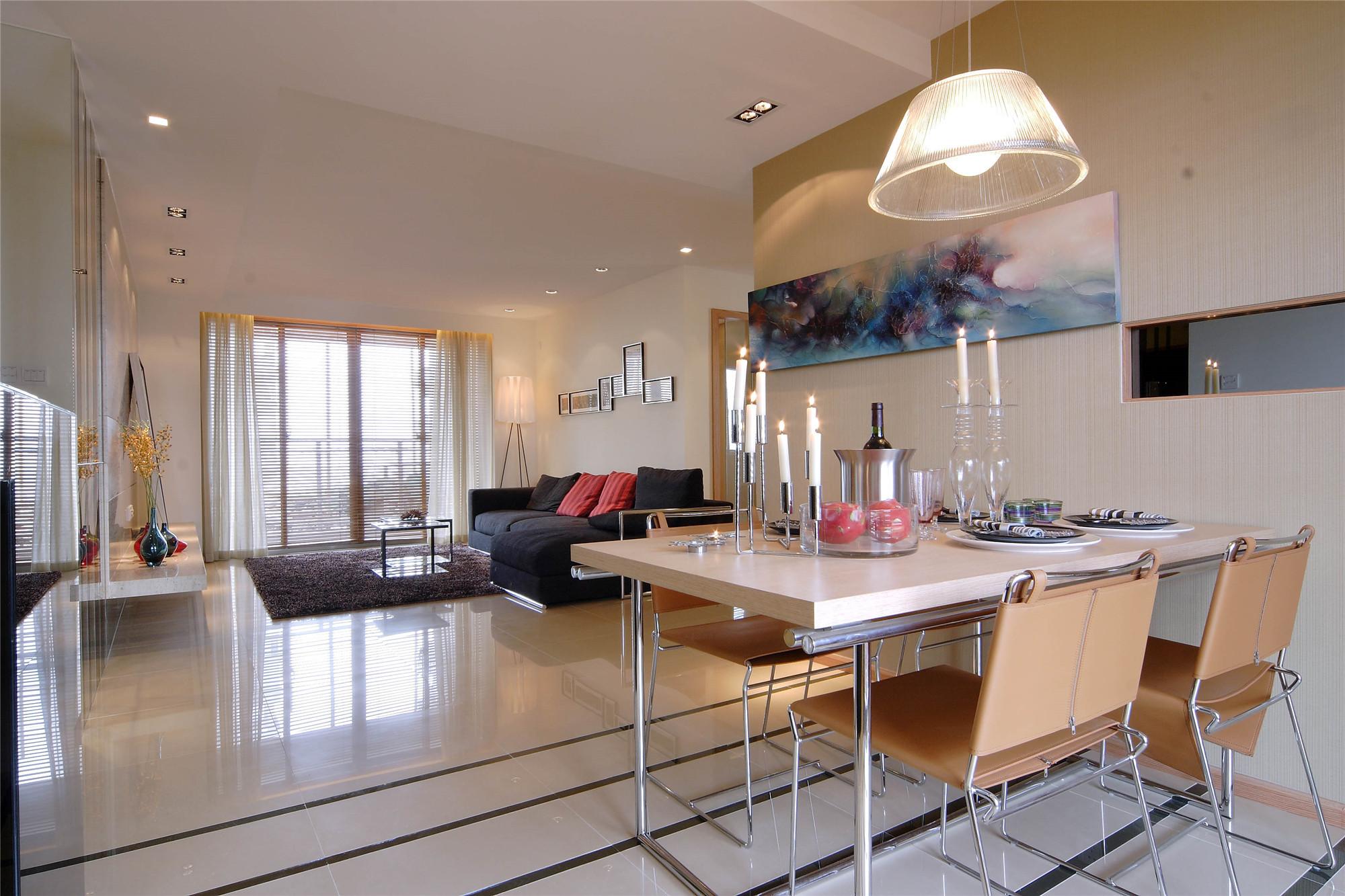三居室简约风格家客餐厅设计图