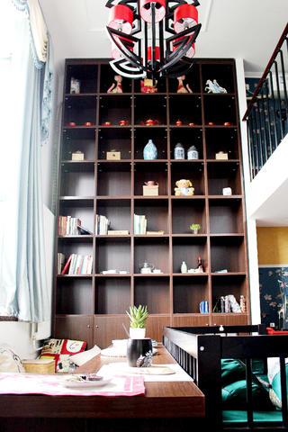 复式新中式装修书柜设计
