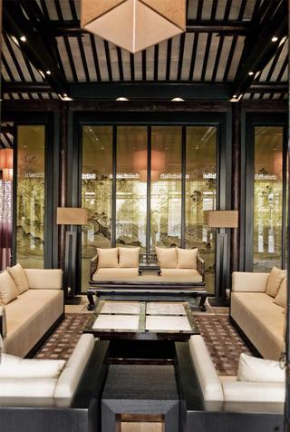 中式茶馆装修屏风设计