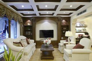 美式风格别墅起居室布置图