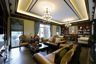 中式美式混搭别墅装修客厅设计图
