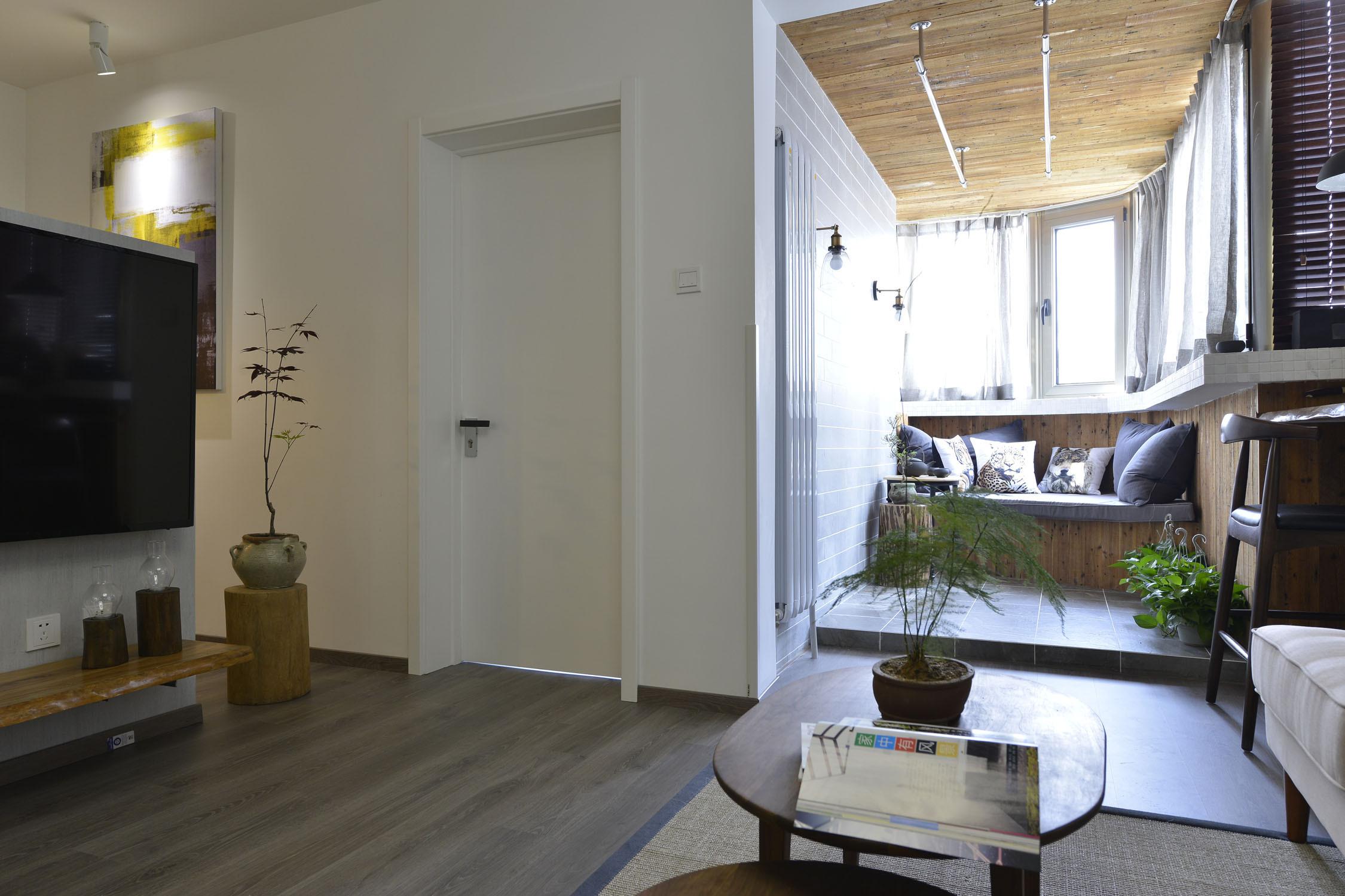 98平混搭风格家阳台休闲书房设计