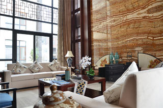新中式风格三居室装修客厅设计图