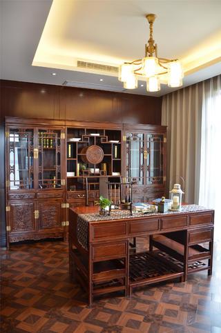 新中式风格三居室装修书房设计图