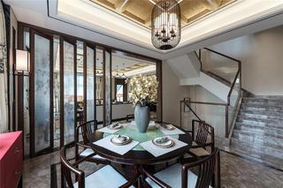 新中式复式装修餐桌椅图片