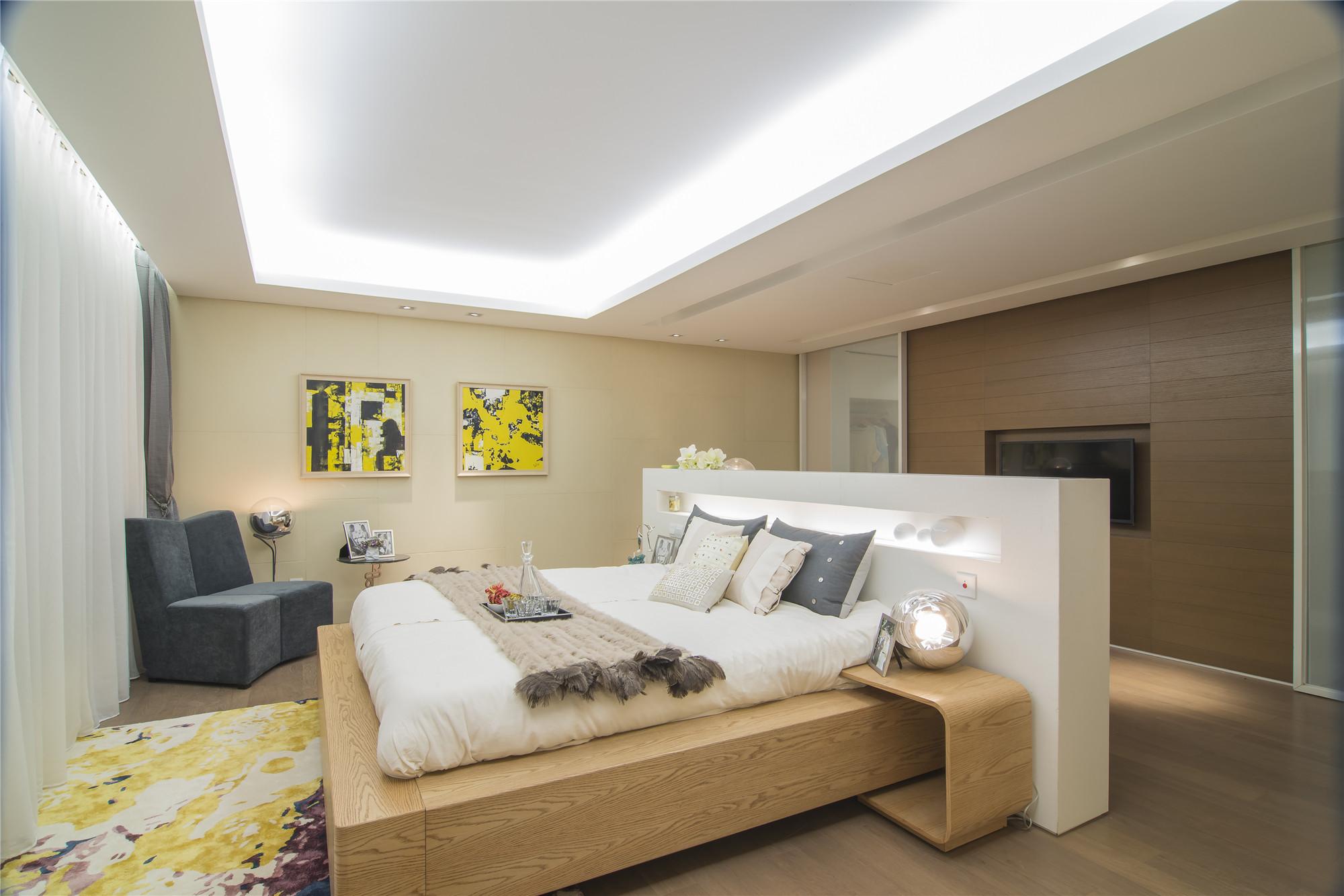 现代简约样板房装修卧室效果图