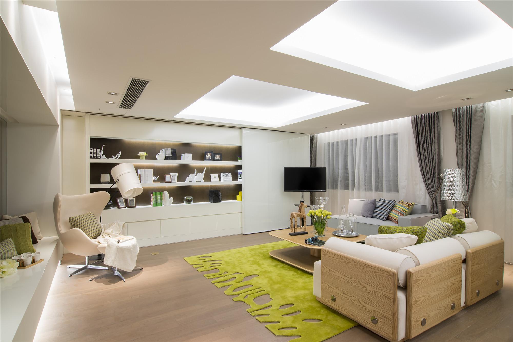 现代简约样板房装修客厅效果图
