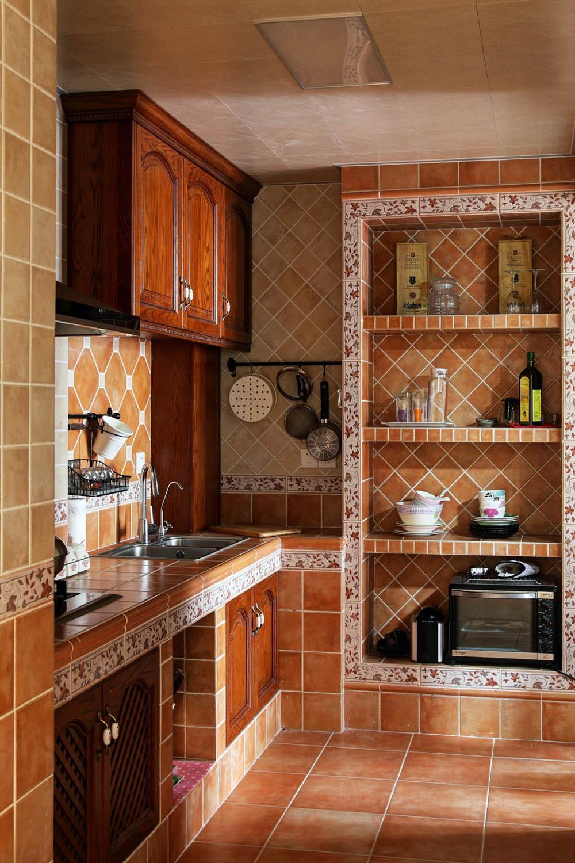 75平田园风格家厨房装潢图