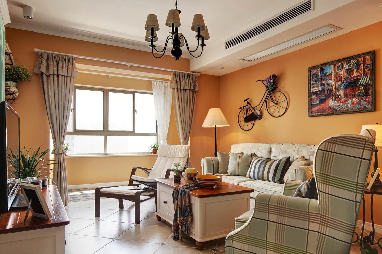 75平田园风格家沙发背景墙设计