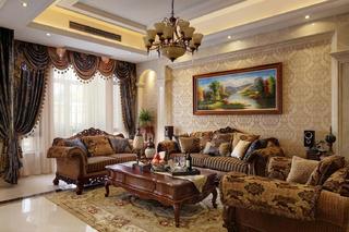 欧式风格别墅装修沙发背景墙图片