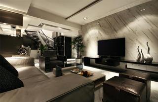 180平现代简约装修电视背景墙图片