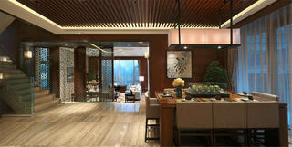 新中式别墅装修餐厅设计图