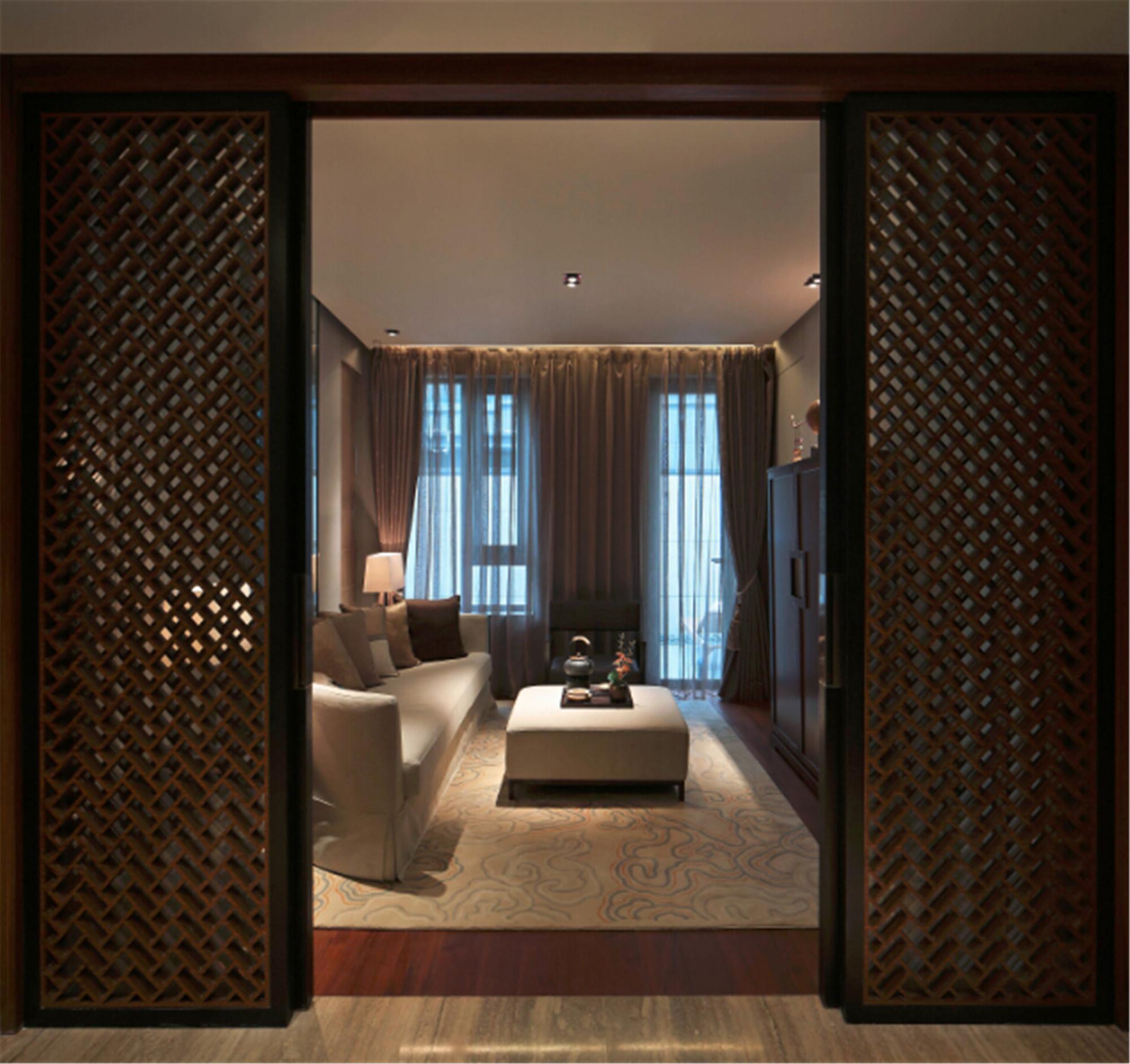 新中式别墅装修起居室效果图