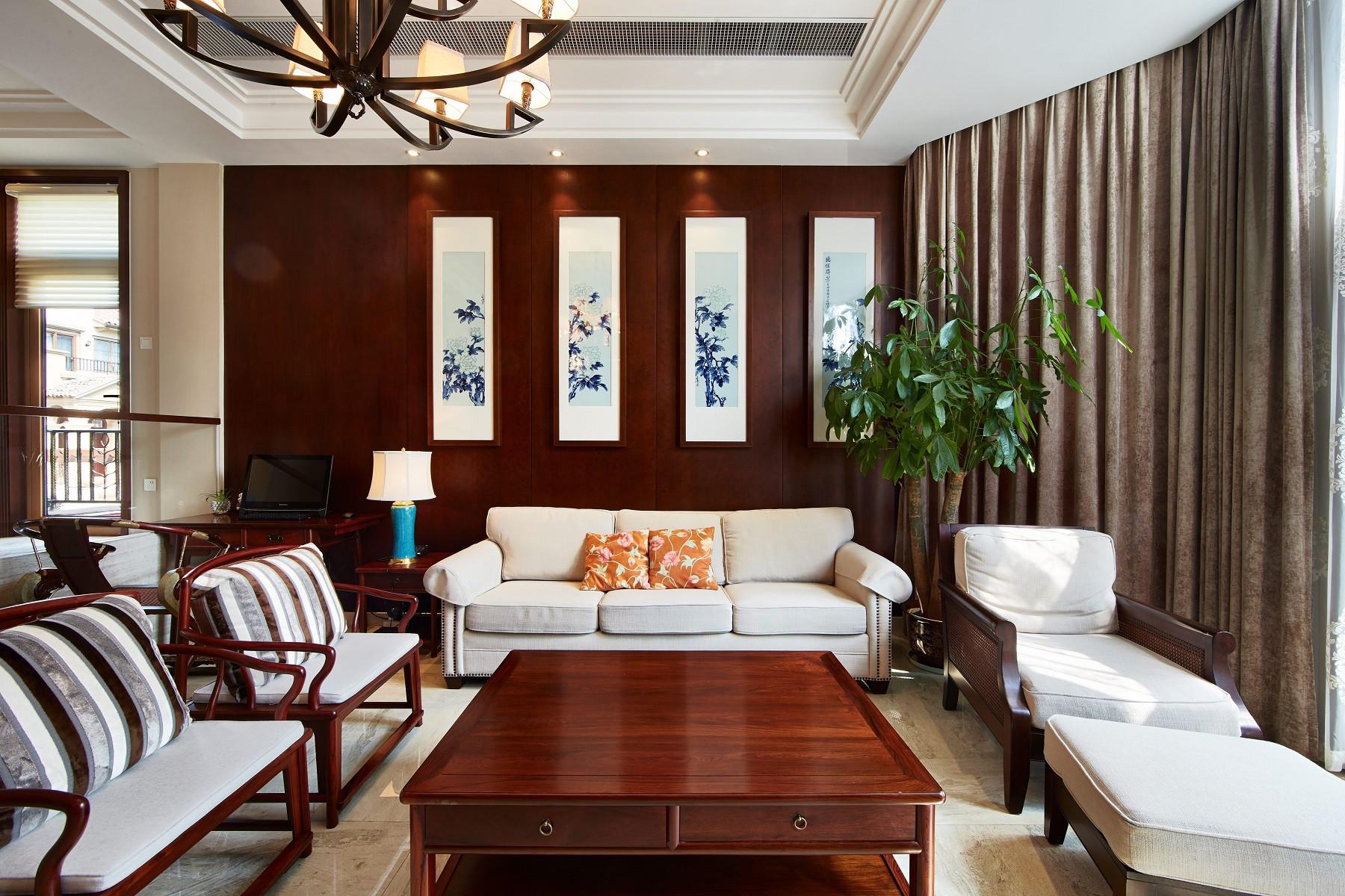 四居室中式风格家客厅效果图