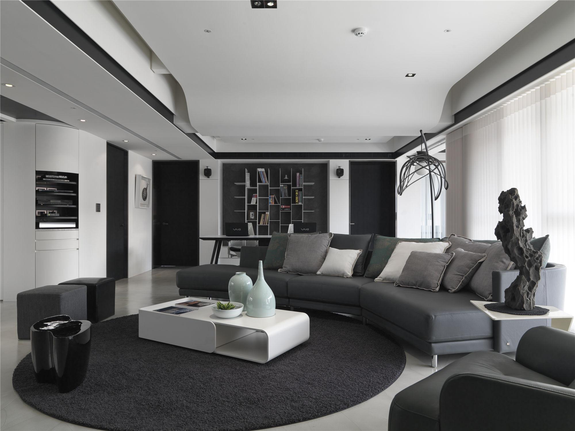 黑白灰现代简约空间装修客厅设计图