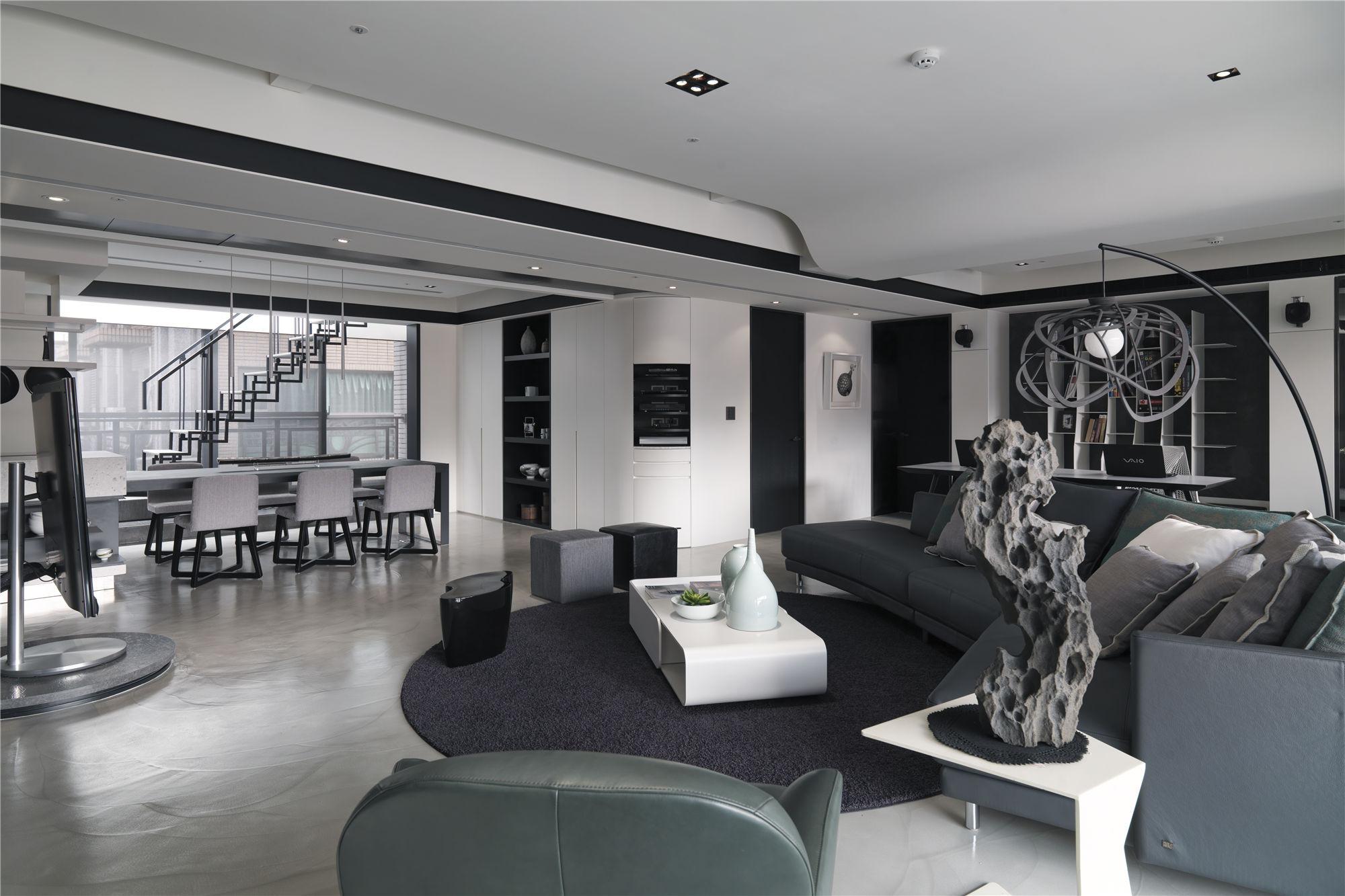 黑白灰现代简约空间装修客餐厅布置图